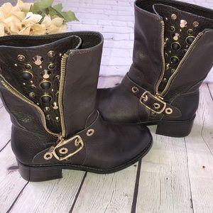Vince Camuto Walt goldtone jeweled/studded boots